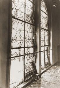 The shattered stained glass windows of the Zerrennerstrasse synagogue after its destruction on Kristallnacht. Pforzheim, Germany, ca. November 10, 1938. (USHMM/Stadtarchiv Pforzheim)